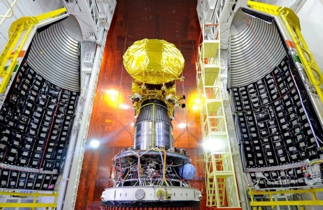 The Mangalyaan Mars Orbiter Spacecraft mounted atop a rocket at the Satish Dhawan Space Center in India. Credit Indian Space Research Organization/European Pressphoto Agency