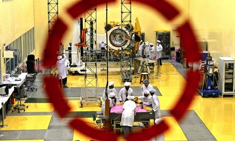 Work on the Mars orbiter at the ISRO satellite centre in Bangalore. Mangalyaan was conceived in just 15 months on a tiny budget. Photo: Manjunath Kiran/AFP/Getty