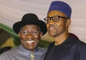 Jonathan (L) and Buhari (R)