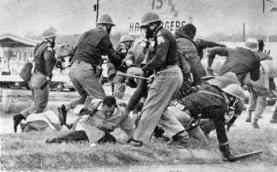 Library of CongressImages of civil rights marchers in Selma being beaten by Alabama police horrified many Americans, including President Lyndon B. Johnson.