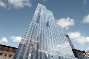 A development rendering of the One57 building in Manhattan. A penthouse in the building is said to be in contract for $90 million. (AP / Extell Development Company)