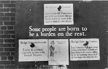 "U.S. eugenics poster advocating for the removal of genetic ""defectives"" such as the insane, ""feeble-minded"" and criminals, and supporting the selective breeding of ""high-grade"" individuals, c. 1926"